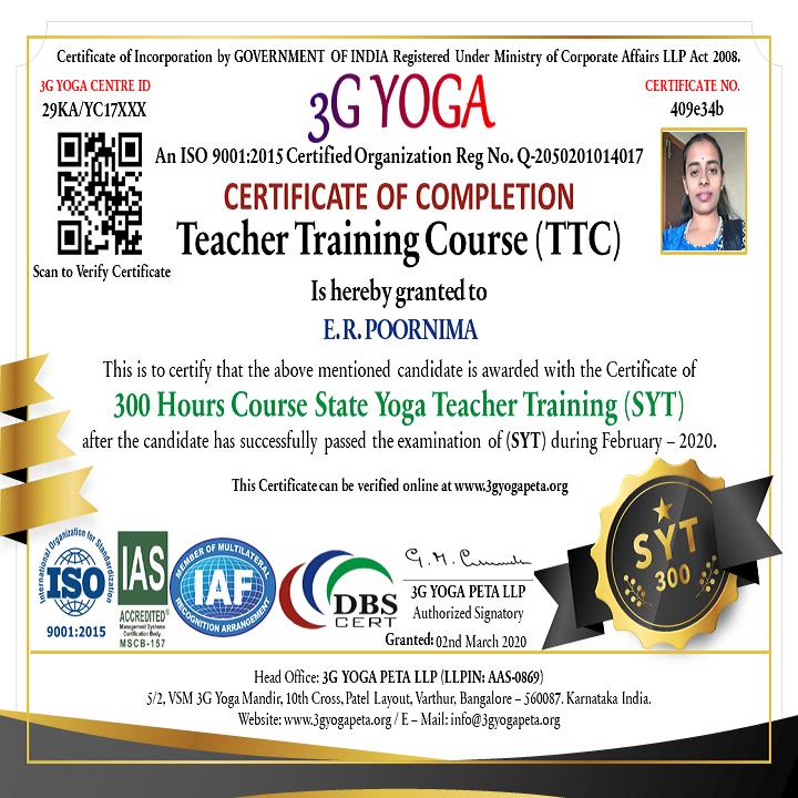 State Yoga Teacher TTC 300 Hours Certification